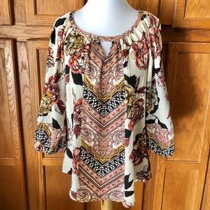 🍁Fig & Flower Anthro Size M Red Boho Tunic Top